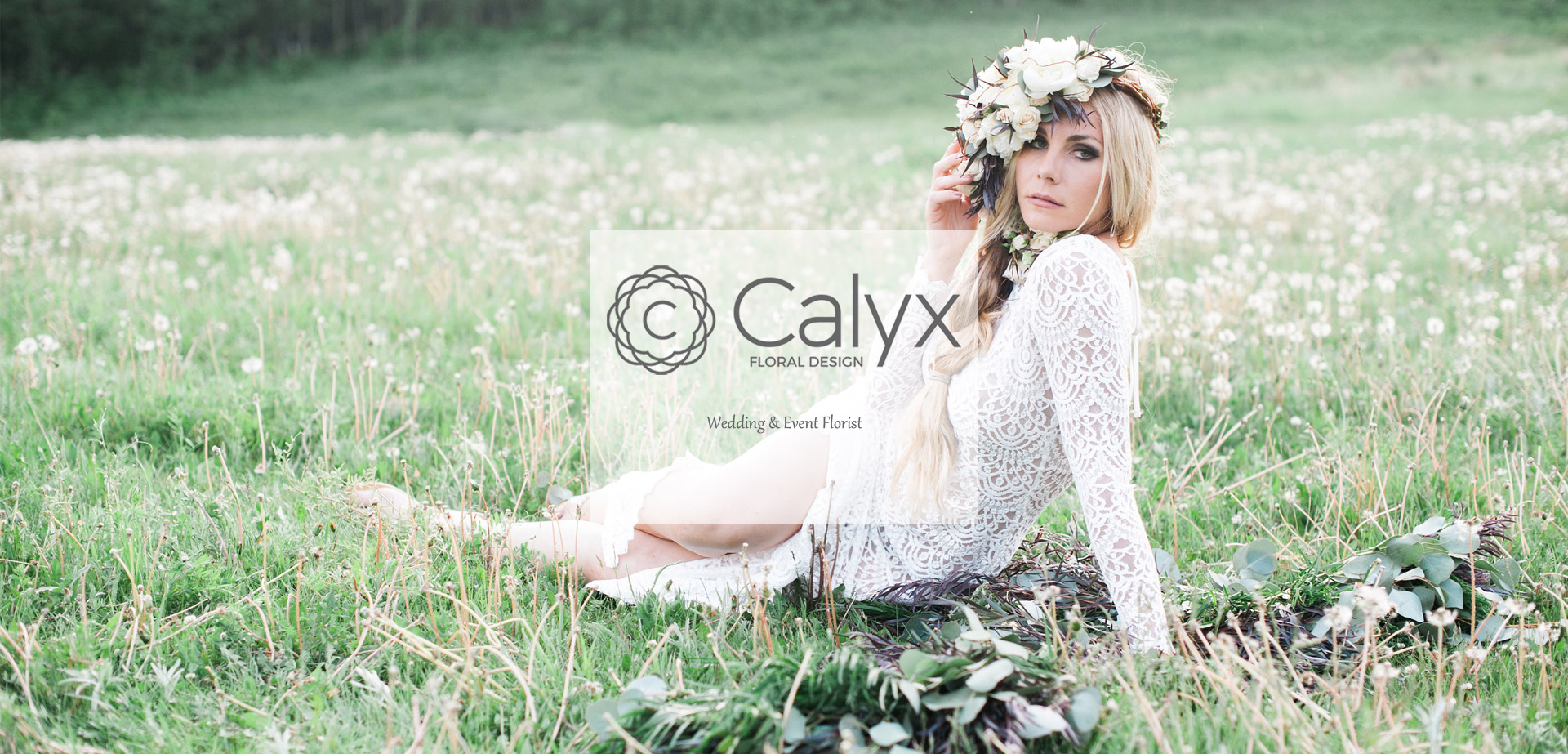 Boho Bride with Large White Floral Crown and Floral Neckpiece