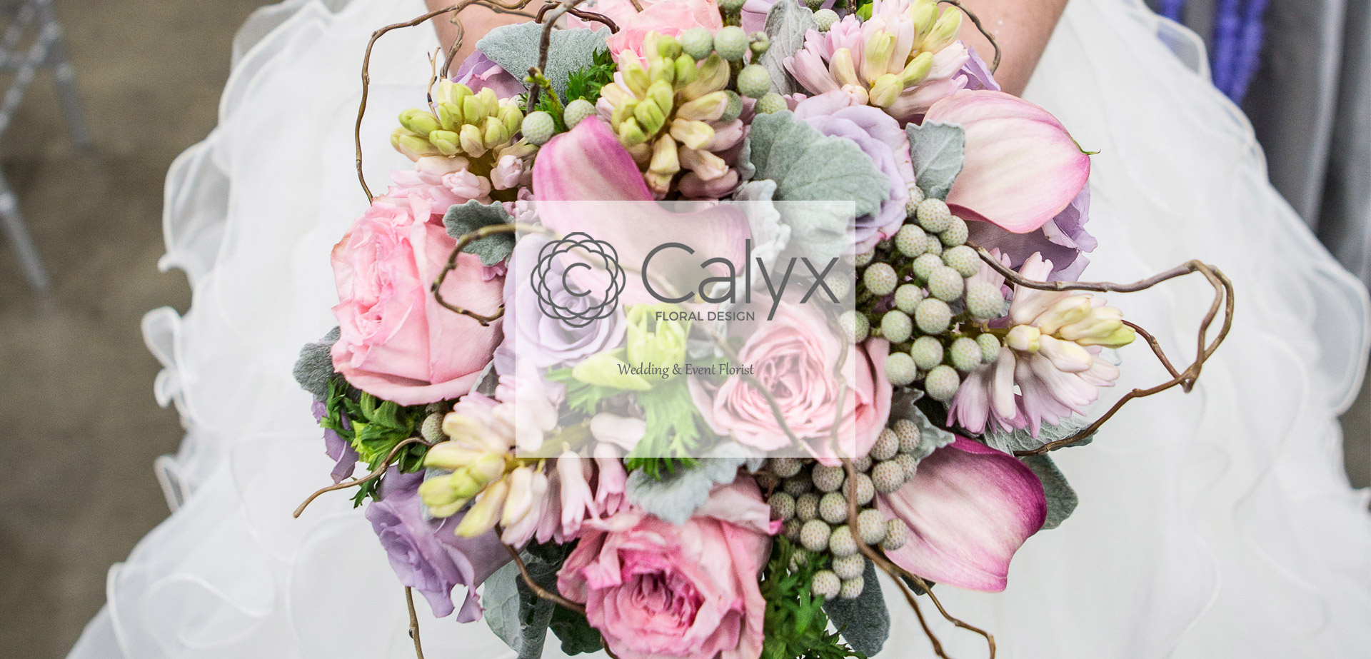 Rose Calla Lily Brunia and Curly Willow Bridal Bouquet