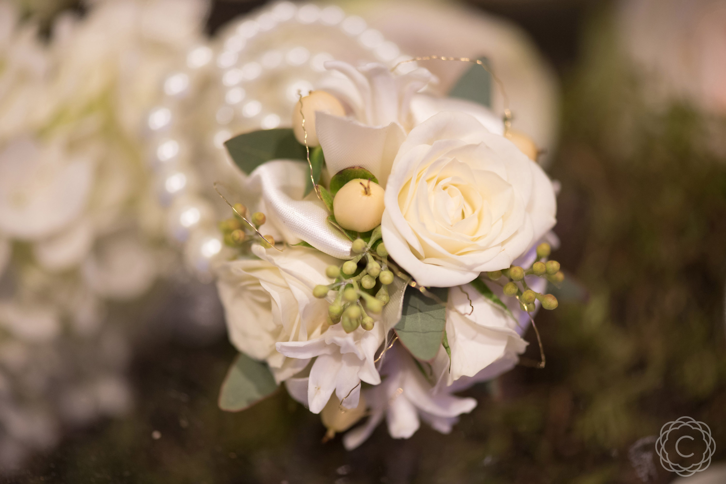 White Spray Rose Wrist Corsage On Pearl Bracelet With Gold Accent